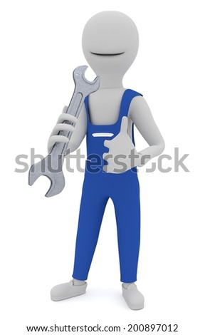 3d model - mechanic with a wrench in hand showing thumbs up - stock photo