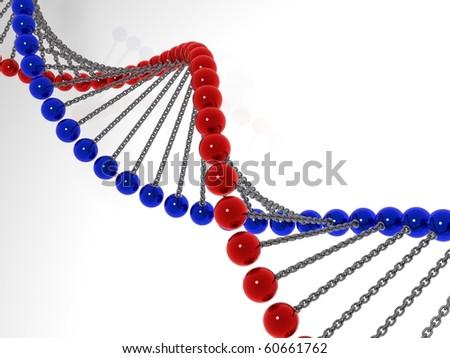 3d model molecule dna - stock photo