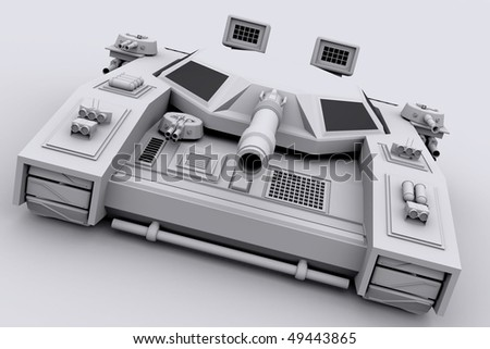 3d model of a futuristic combat tank - stock photo