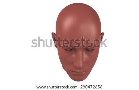 3d model of a humane head with red skin isolated on white. it is a man face with bold head staring at various angles looking strait.