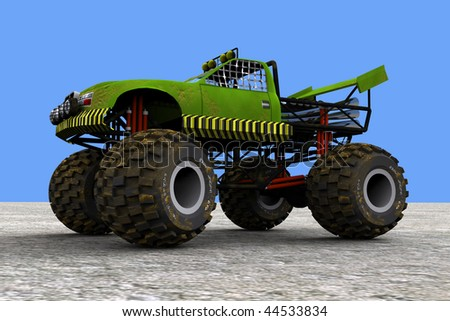 3d model of a monster truck, with uniform background - stock photo