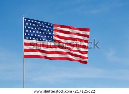 3d model of a waving USA flag. Blue sky background.  - stock photo