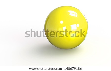 3d model of a Yellow ball sphere isolated on white - stock photo