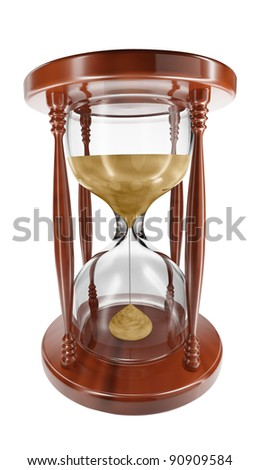 3D model of an hourglass on white background