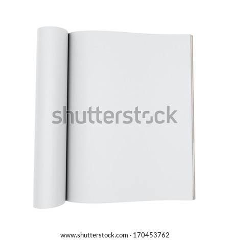 3d model of blank opened magazines isolated on white background - stock photo