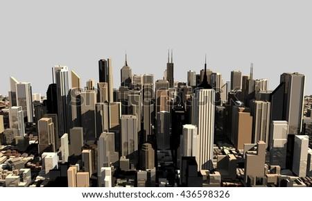 3D model of city.3D rendering illustration. - stock photo