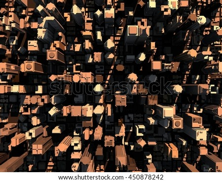 3D model of city.3D rendering illustration.Top view. - stock photo