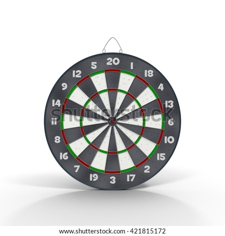 3d model of Dart Board Isolated on White 3D Illustration - stock photo