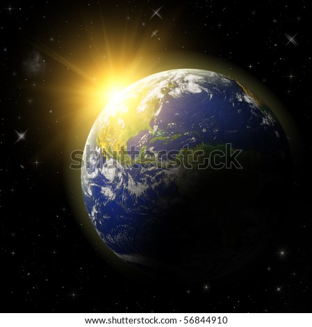 3D Model of Earth Planet. Blue Idill. - stock photo