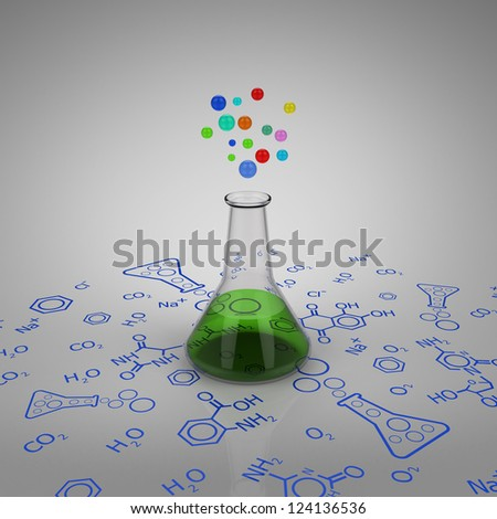 3D model of glass test tube with green liquid and bubbles on chemical diagram - stock photo
