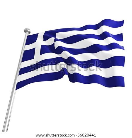 3d model of greek flag on white background - stock photo