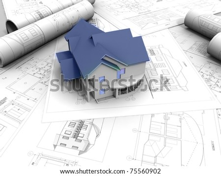 3D model of house - stock photo