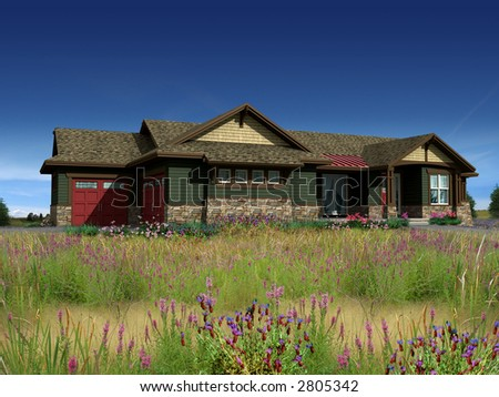 3d Model of house photo-matched in prairie background