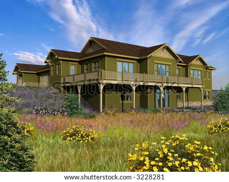 3d Model of house with green siding, photo-matched in grassy foreground