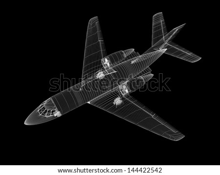 3D model of jet airplane isolated on BLACK background