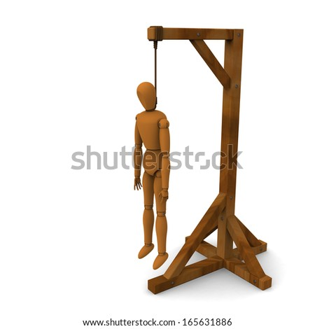 3D model of puppet hung on wooden post - stock photo