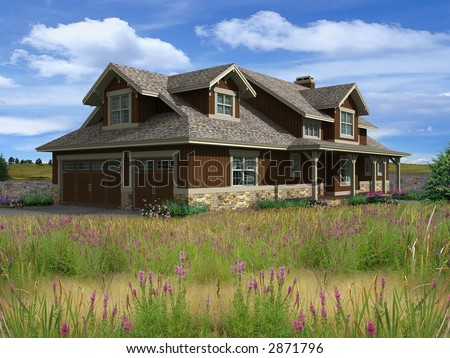 3d Model of ranch house photo-matched in prairie background - stock photo