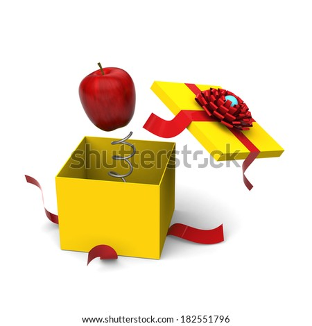 3D model of red apple springing out from a yellow gift box - stock photo