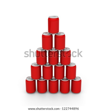 3D model of red cans set up to a tower - stock photo