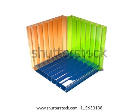 3 Dmodel Color Polycarbonate Sheets Stock Illustration 115633138 ...