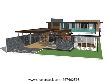 3d model house sketchup stock illustration 447462598 shutterstock - 3d Model Home