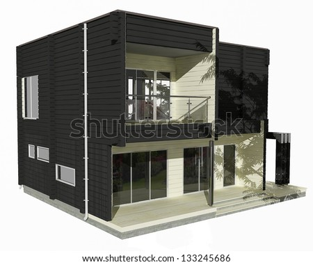 3d model of two-story wooden house on a white background. Similar images in my portfolio. - stock photo