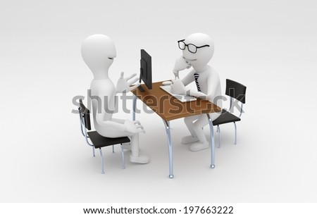 3D model of two white peoples at office