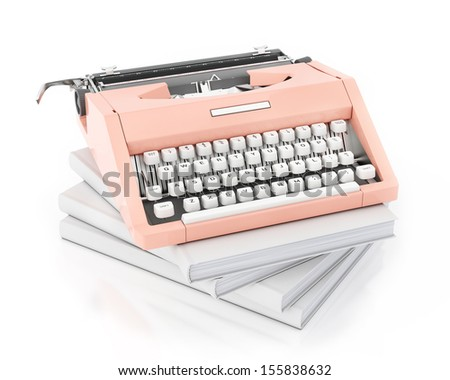 3d model of vintage pink typing machine on pile of blank books, isolated on white background - stock photo