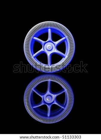 3D model of wheel with reflection - stock photo