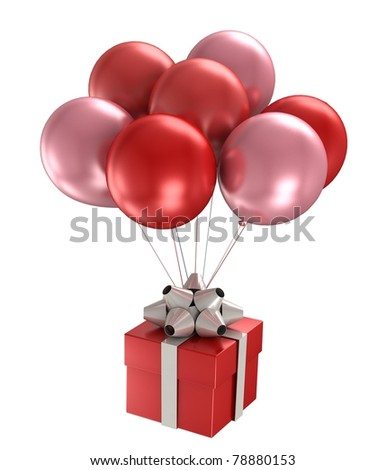 3d model shiny ballons on white background