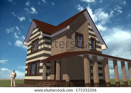 3d model storey residential building constructed in traditional style with modern elements