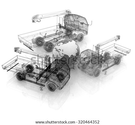 3d model truck and Earth. Global concept