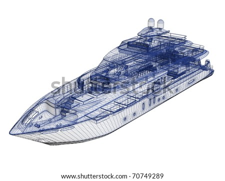 3d model yacht - stock photo