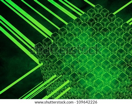 3D-modeled set of cubes surrounded with luminous flows, referring to concepts such as databases, networks, as well as high technology - stock photo