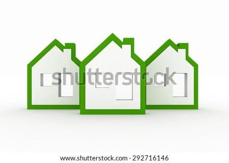 3d models ecological houses symbol - stock photo