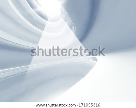 3d modern architecture interior with light beams - stock photo