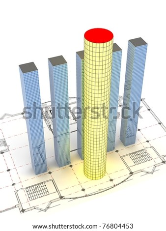 3D modern buildings on drawing plan. Concept - best modern designing. - stock photo