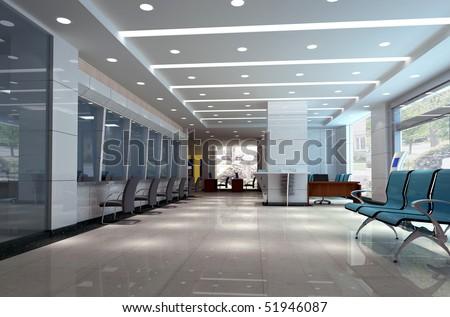 3d modern business hall - stock photo