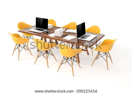 3d modern computer workplace, conference table - stock photo