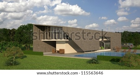 3d Modern house - stock photo