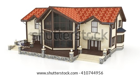 3d modern house exterior on a white background 3D illustration