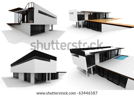 3d modern house, isolated on white - stock photo