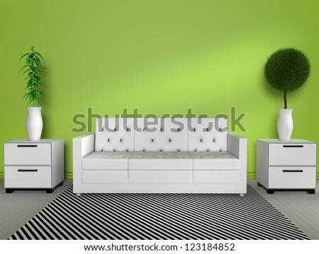 3D modern interior - stock photo