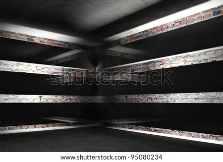3d modern interior corner with black empty frames - stock photo