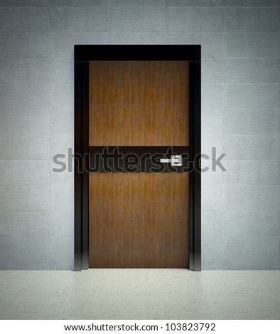 3d modern interior design, wall with door - stock photo