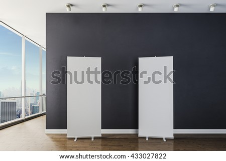 3d modern interior with blank canvas poster - stock photo