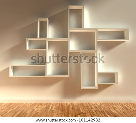 3d modern interior with empty shelf - stock photo
