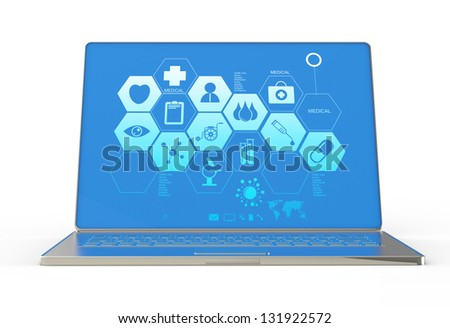 3d modern laptop computer and medical interface as concept - stock photo