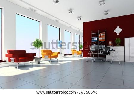 3d modern office interior design - stock photo