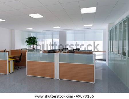 3d modern office room - stock photo
